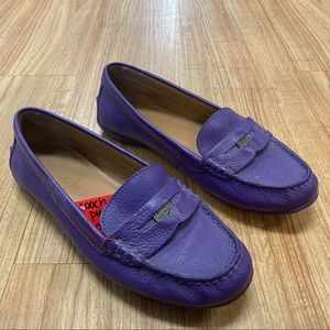 Coach Purple Pebbled Leather Penny Loafers